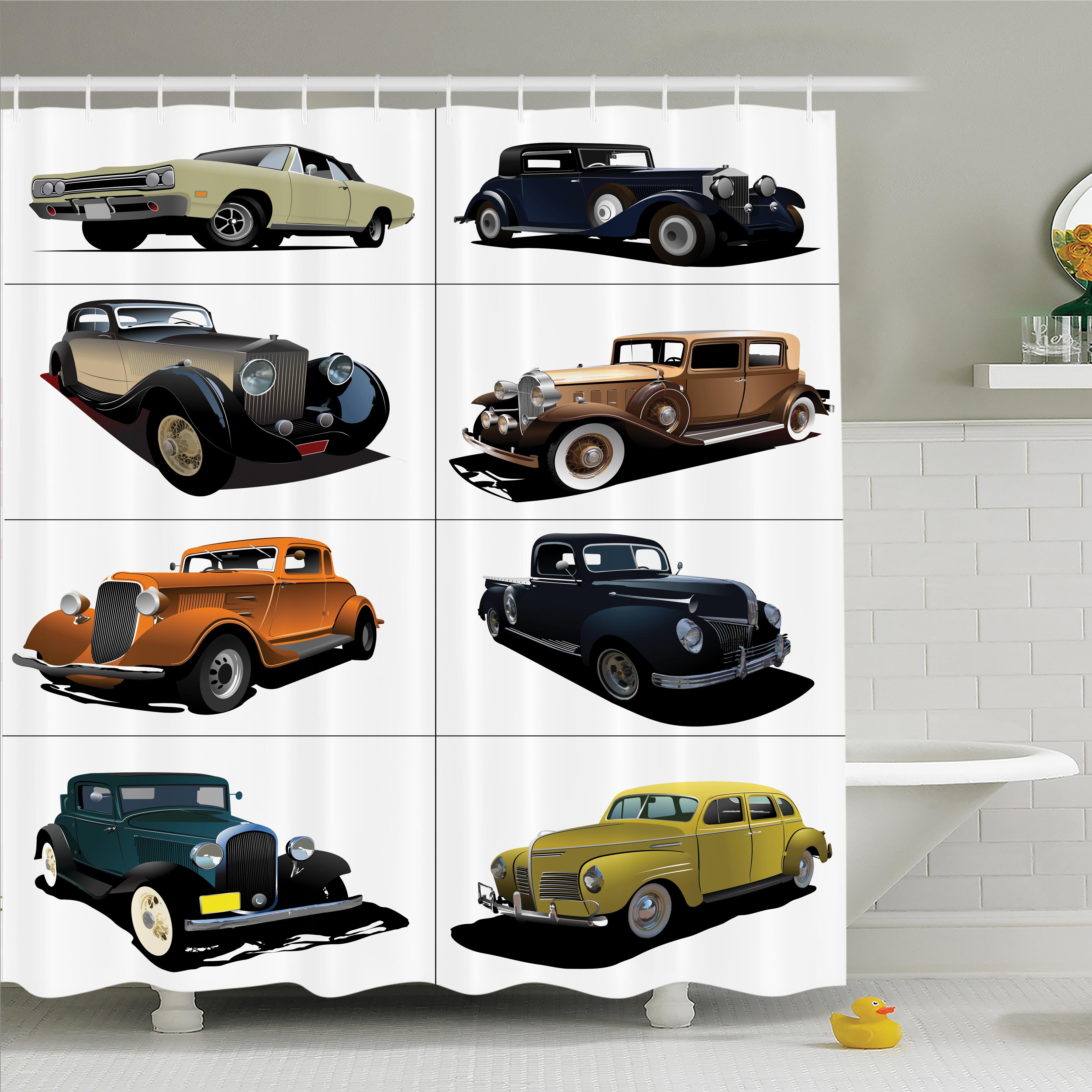 Ambesonne Vintage Collage Of Fifties Car Shower Curtain Set