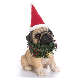 4e2c30fd3bf Aaron Resin Santa Hat and Wreath Pug Pup