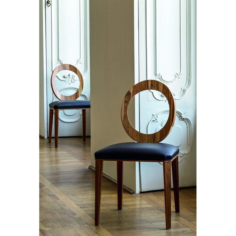 Geraldine Side Chair In Navy Blue Genuine Leather