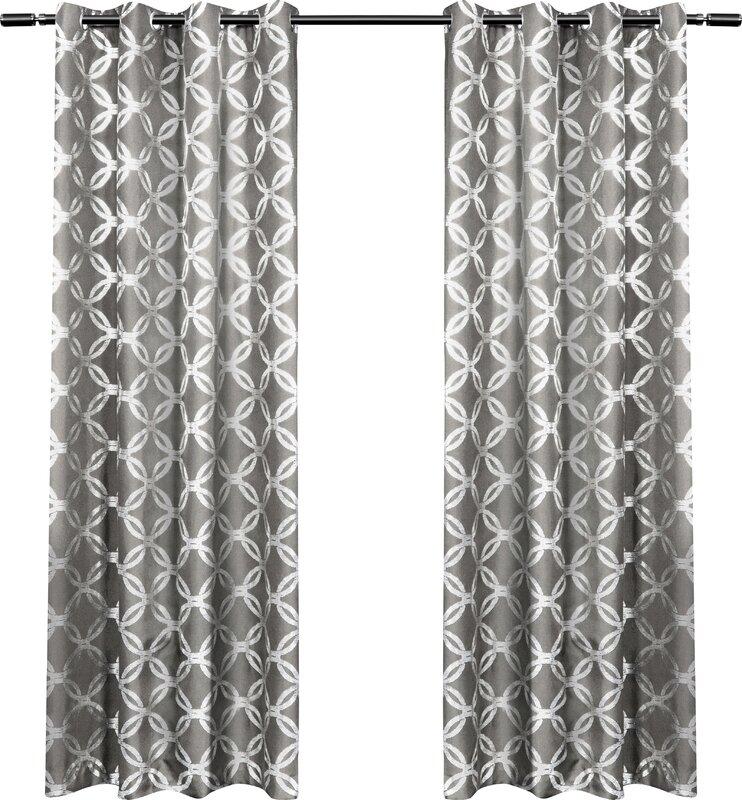 House of Hampton Kittrell Metallic Top Geometric Semi-Sheer ...