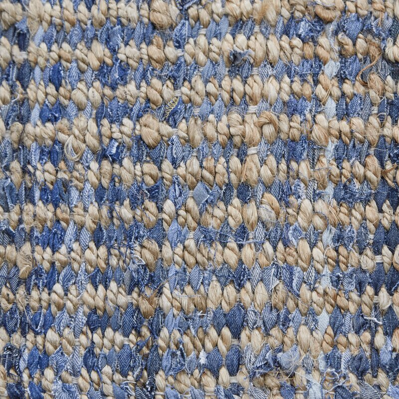 Beachcrest Home Gilchrist Hand Woven Natural Blue Area Rug