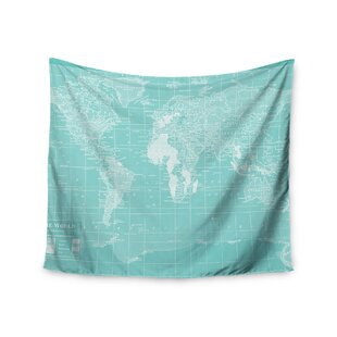 World map tapestries youll love wayfair welcome to my world by catherine holcombe wall tapestry gumiabroncs Gallery