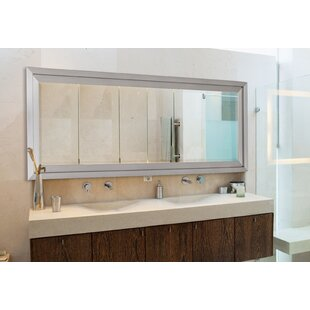 Brushed Nickel Bathroom Mirror. Satin Brushed Nickel Silver Wide Wall Mirror  Wayfair