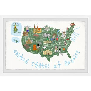 Deshawn White United States of America Map Framed Art by Viv   Rae
