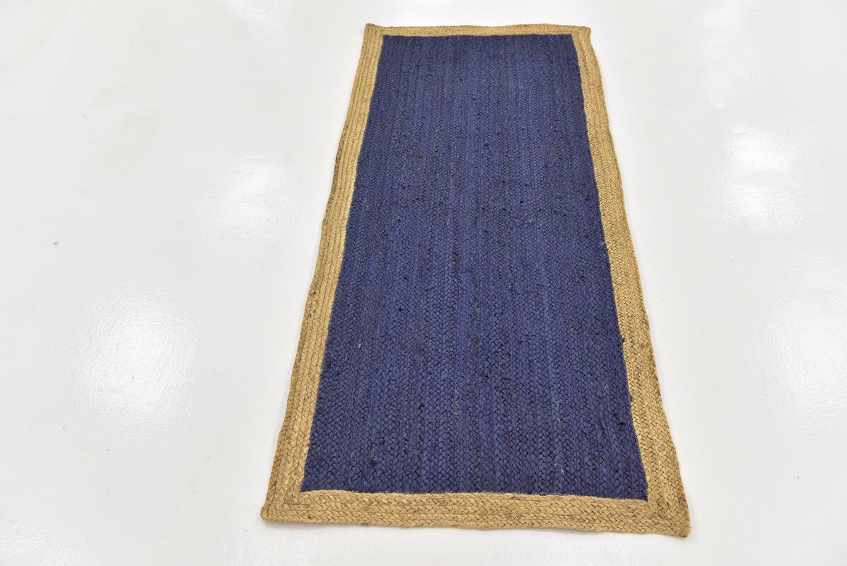 Beachcrest Home Calathea Hand Braided Navy Blue Area Rug