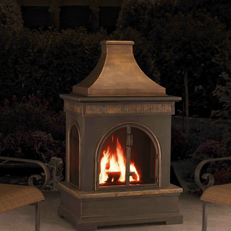 Sunjoy Hardy Slate Steel Wood Burning Outdoor Fireplace