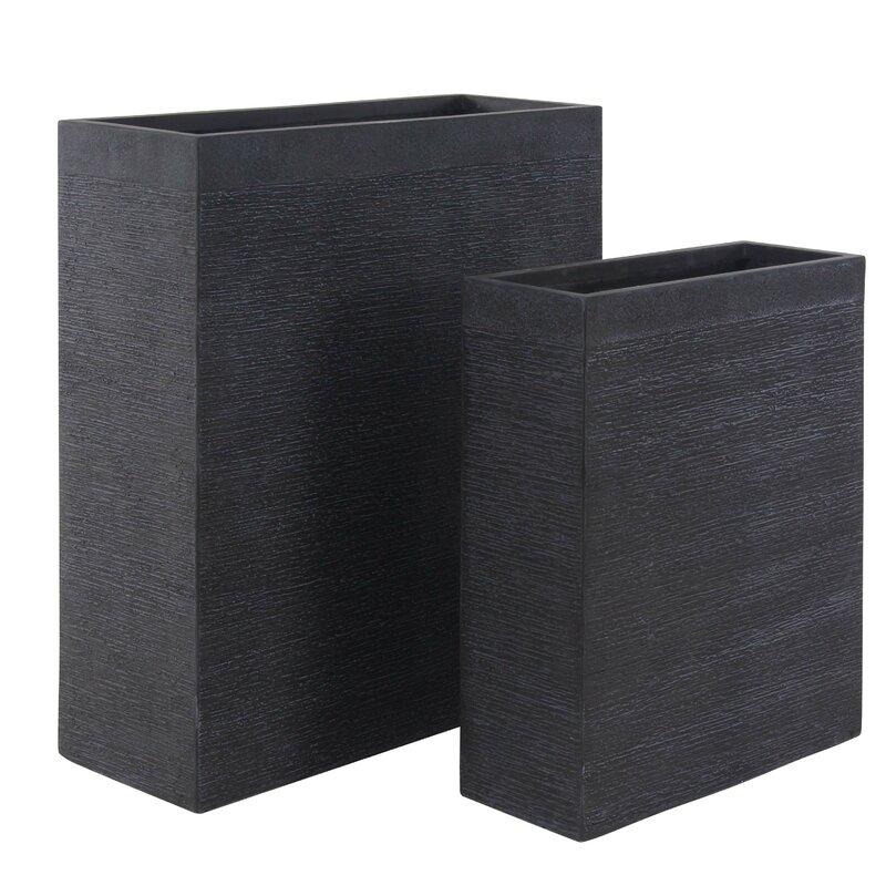 Cole Grey Modern Rectangular 2 Piece Clay Planter Box Set Reviews Wayfair