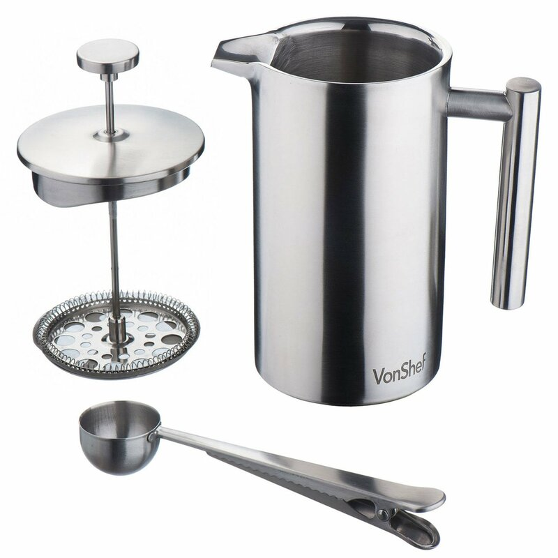 VonShef Stainless Steel French Press Cafetiere Coffee