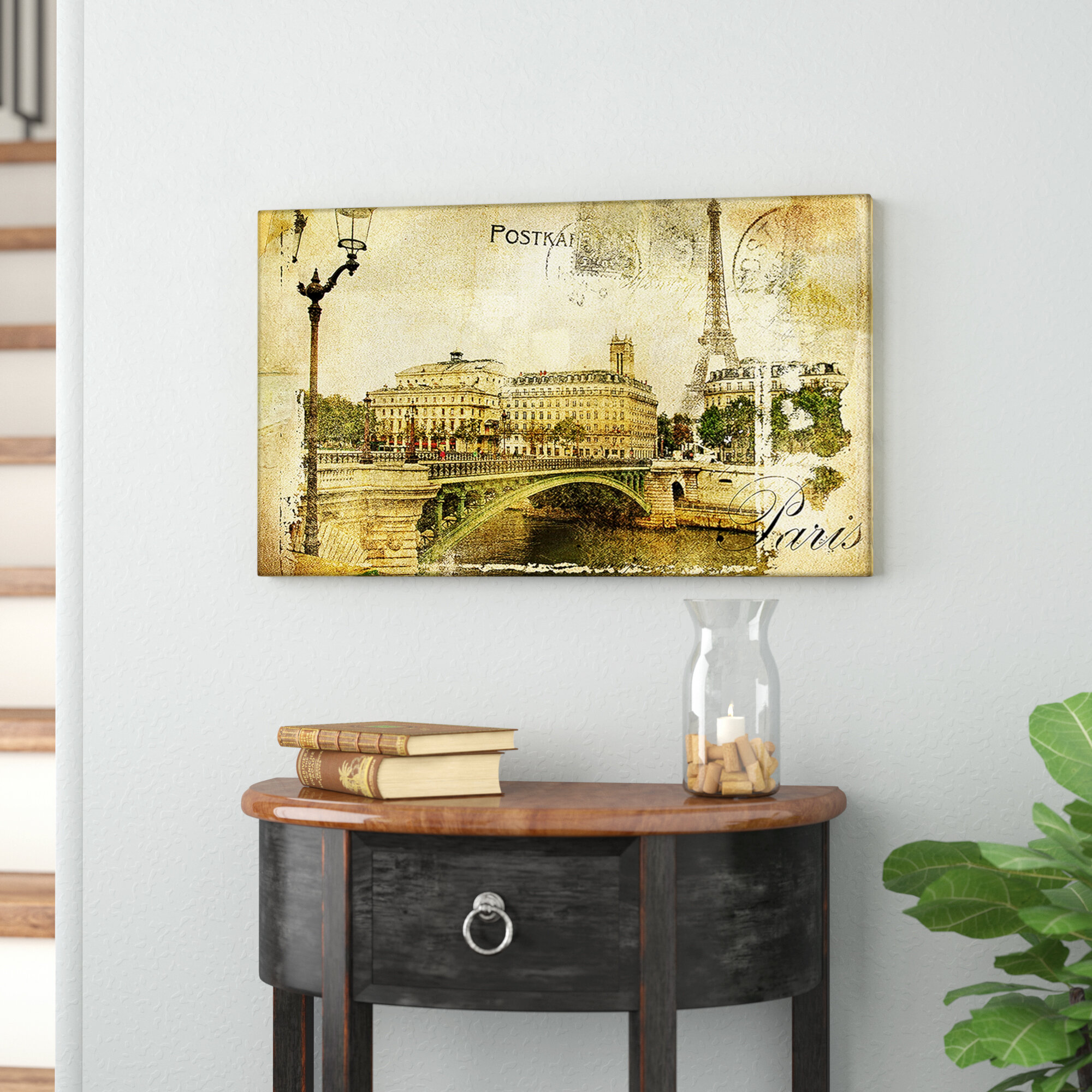 East Urban Home \'Vintage Paris\' Graphic Art Print on Canvas   Wayfair