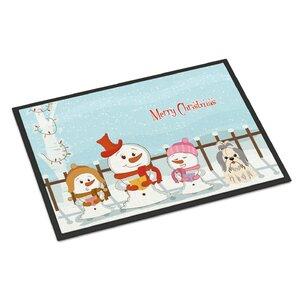 Merry Christmas Carolers Shih Tzu Doormat