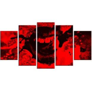 Metal U0027Speak Out Red Lipsu0027 5 Piece Graphic Art Set