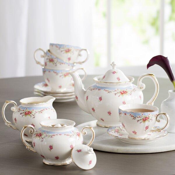 Lark Manor Hemby 11 Piece Vintage Blue Rose Porcelain Tea