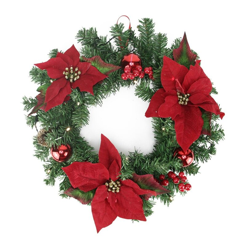 """Christmas Pre-Decorated 16"""" Lighted Artificial Pine and Poinsettia Wreath"""