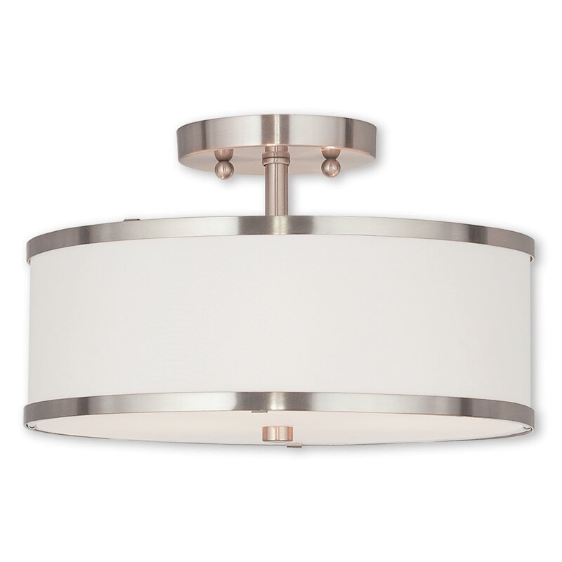 Latitude Run Cana 2-Light Drum/Cylinder Shade Semi Flush ...
