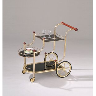 Monahan Golden Plated and Black Glass Serving Bar Cart