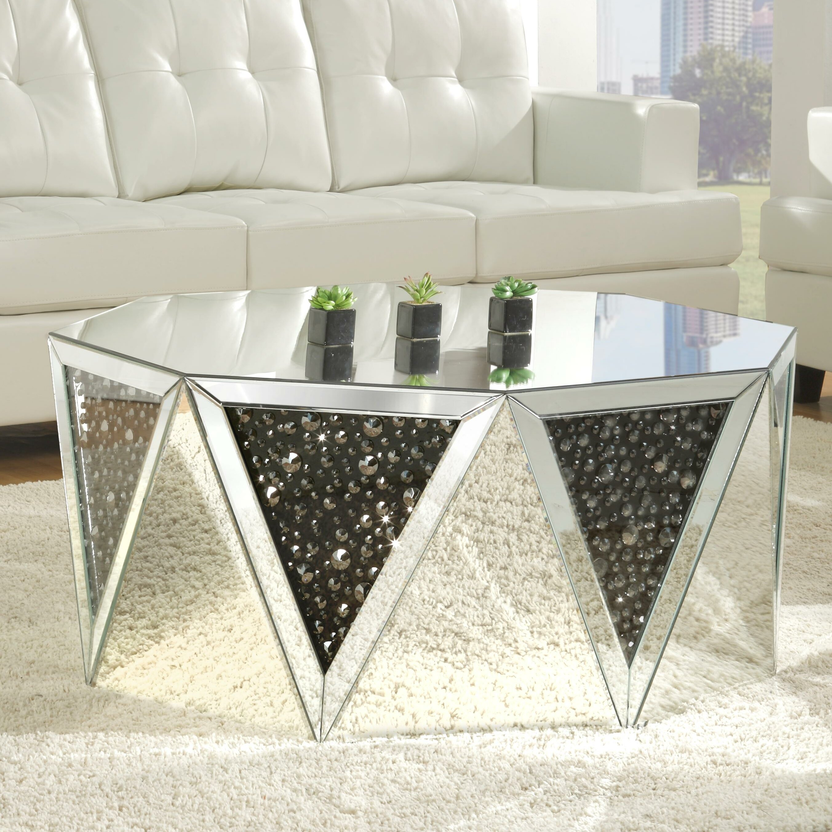 Rosdorf park blakes mirrored coffee table wayfair
