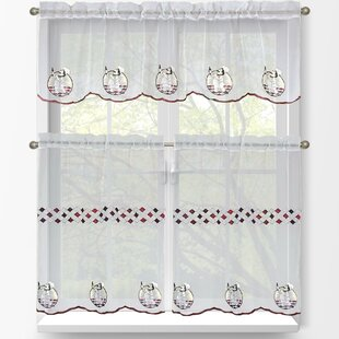 Happy Chef 3 Piece Embroidered Kitchen Tier And Valance Set