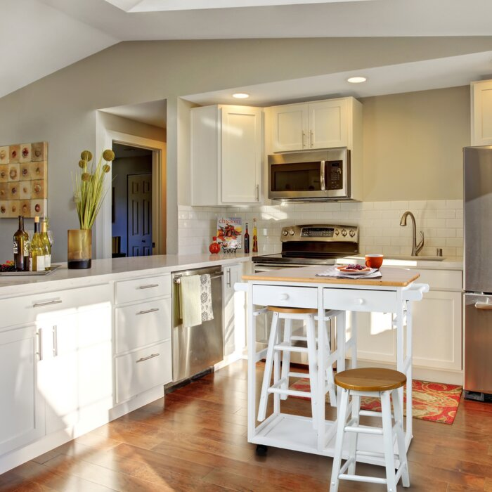 August Grove Charity 3 Piece Kitchen Island Set Reviews Wayfair Ca