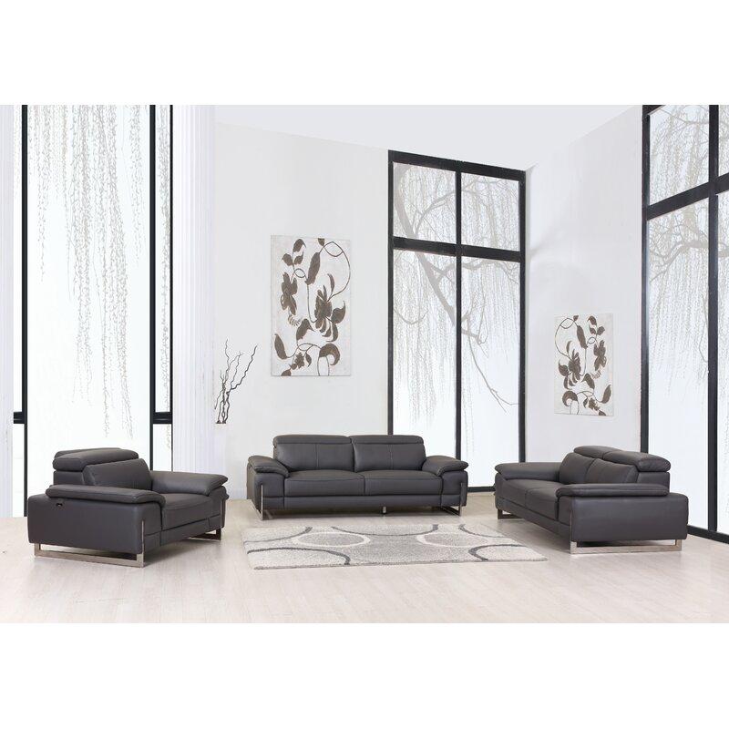 Allon 3 Piece Leather Living Room Set