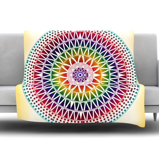 Colorful Throw Blankets Beauteous East Urban Home Colorful Vibrant Mandala By Famenxt Fleece Throw