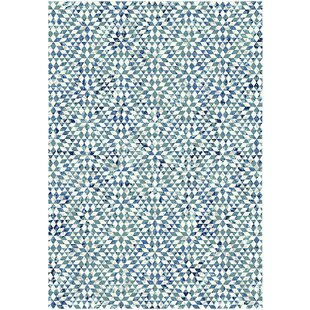 Doty Vintage Geometric Pattern Blue Rug