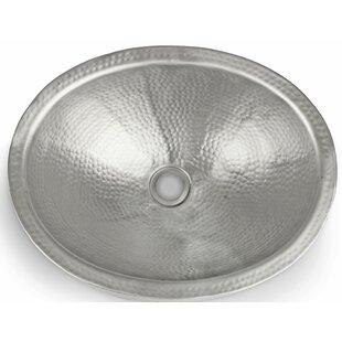 Hand Hammered Metal Oval Vessel Bathroom Sink