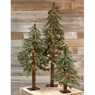 3 piece alpine artificial christmas tree set with clearwhite lights set of 3