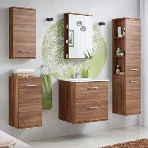 Belfry Bathroom 70 cm Wandmontierter Waschtisch Harmony mit Spiegel, Armatur und Schränken