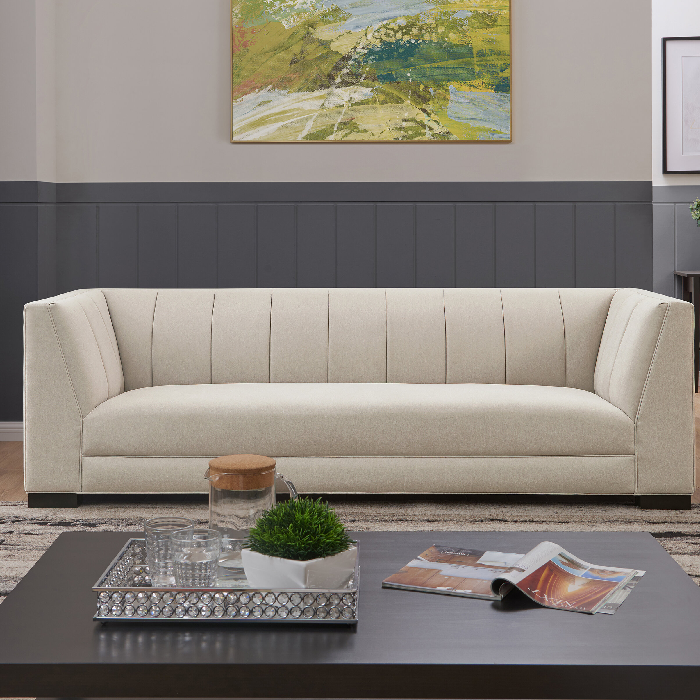 Orren ellis fraser tufted back sofa in light grey plush low pile velvet wayfair ca