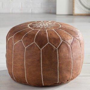 cherise round pouf leather ottoman