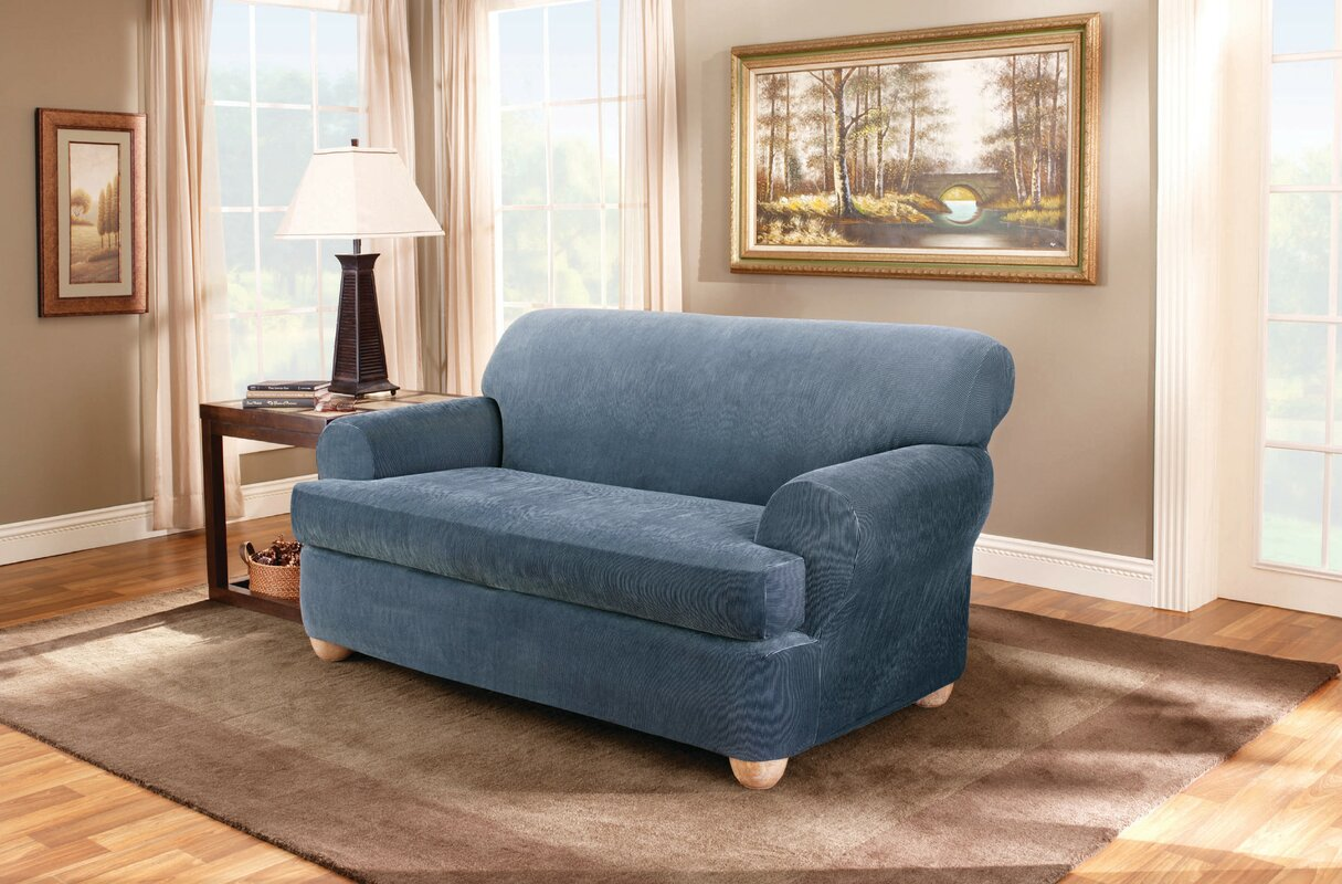 Sure Fit Stretch Stripe T Cushion Loveseat Slipcover