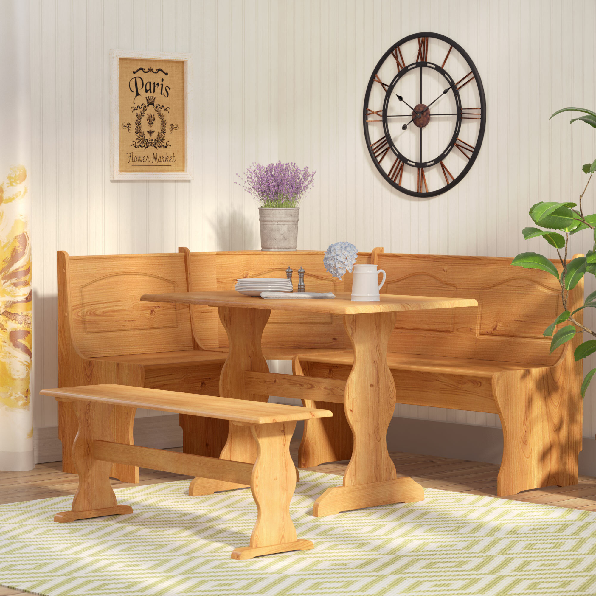 Attirant August Grove Patty 3 Piece Nook Dining Set U0026 Reviews   Wayfair