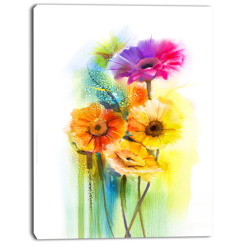 Designart Yellow Orange Purple Gerbera Flowers Painting Print On