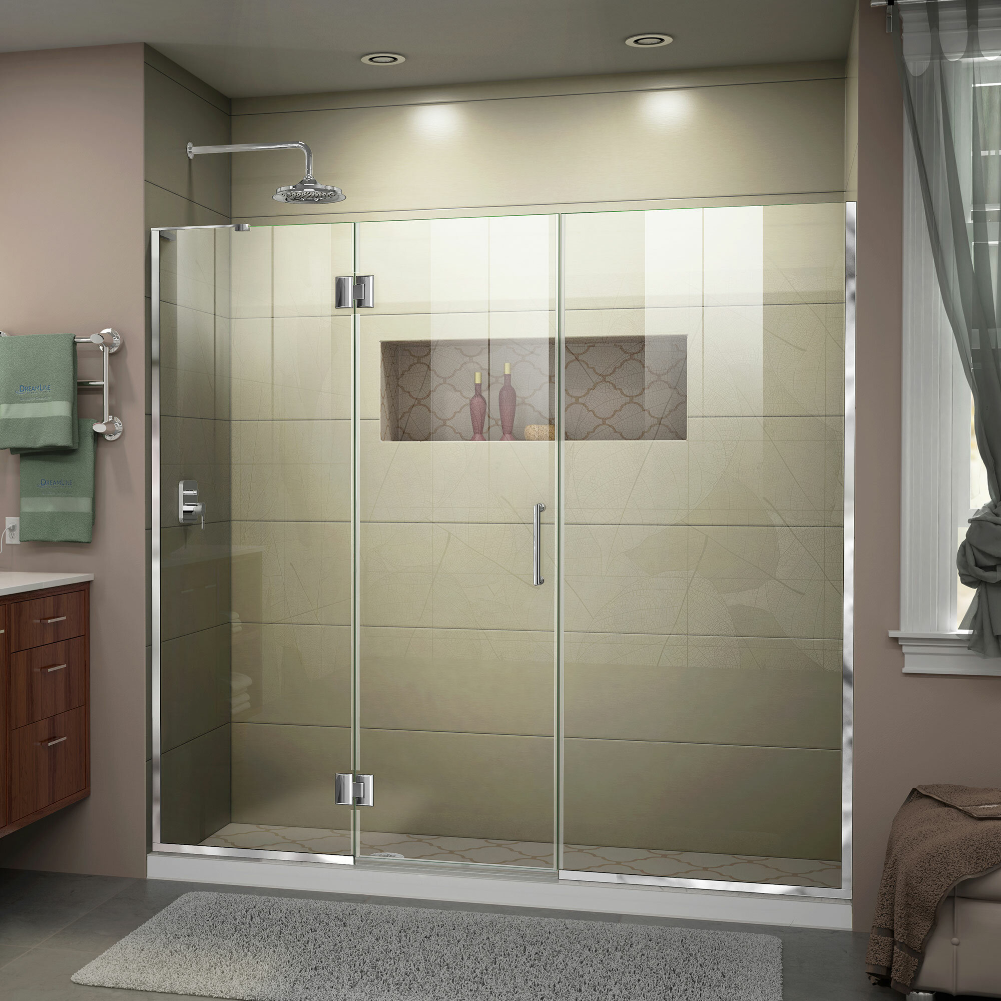Unidoor X 69 X 72 Hinged Frameless Shower Door With Clearmax Technology