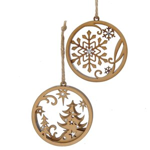 2 Piece Circle with Tree and Snowflake Ornament Set