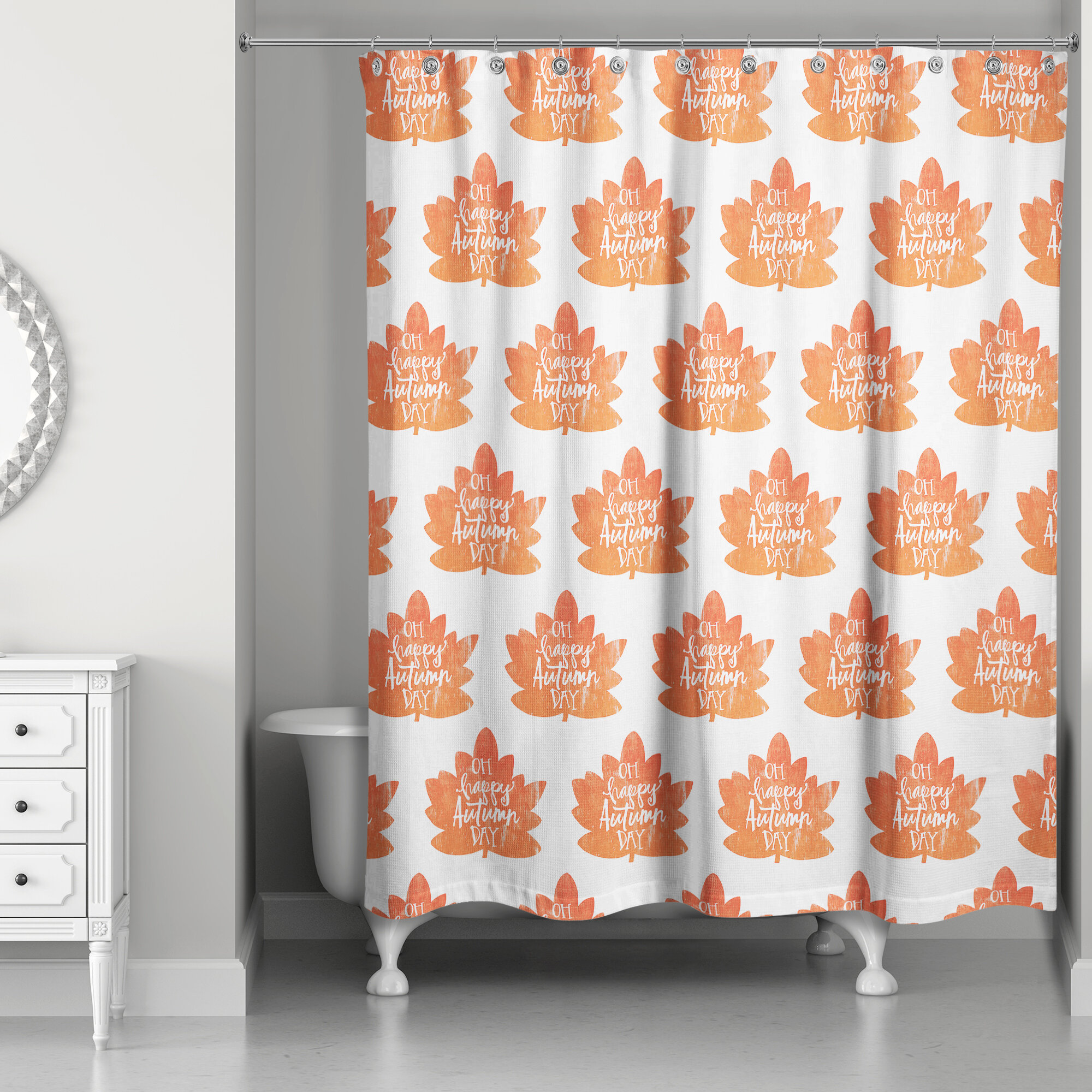 The Holiday Aisle Fall Leaves Pattern Shower Curtain