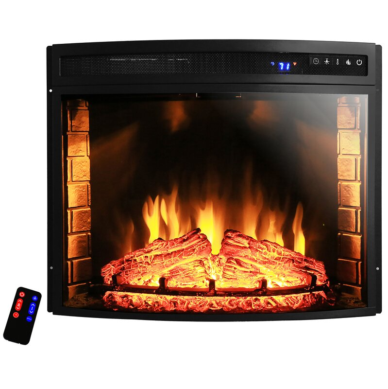 AKDY Curved Wall Mount Electric Fireplace Insert  Reviews Wayfair - Fireplace inserts electric