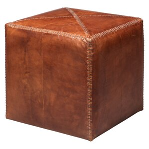 Gustavus Leather Ottoman by Canora Grey