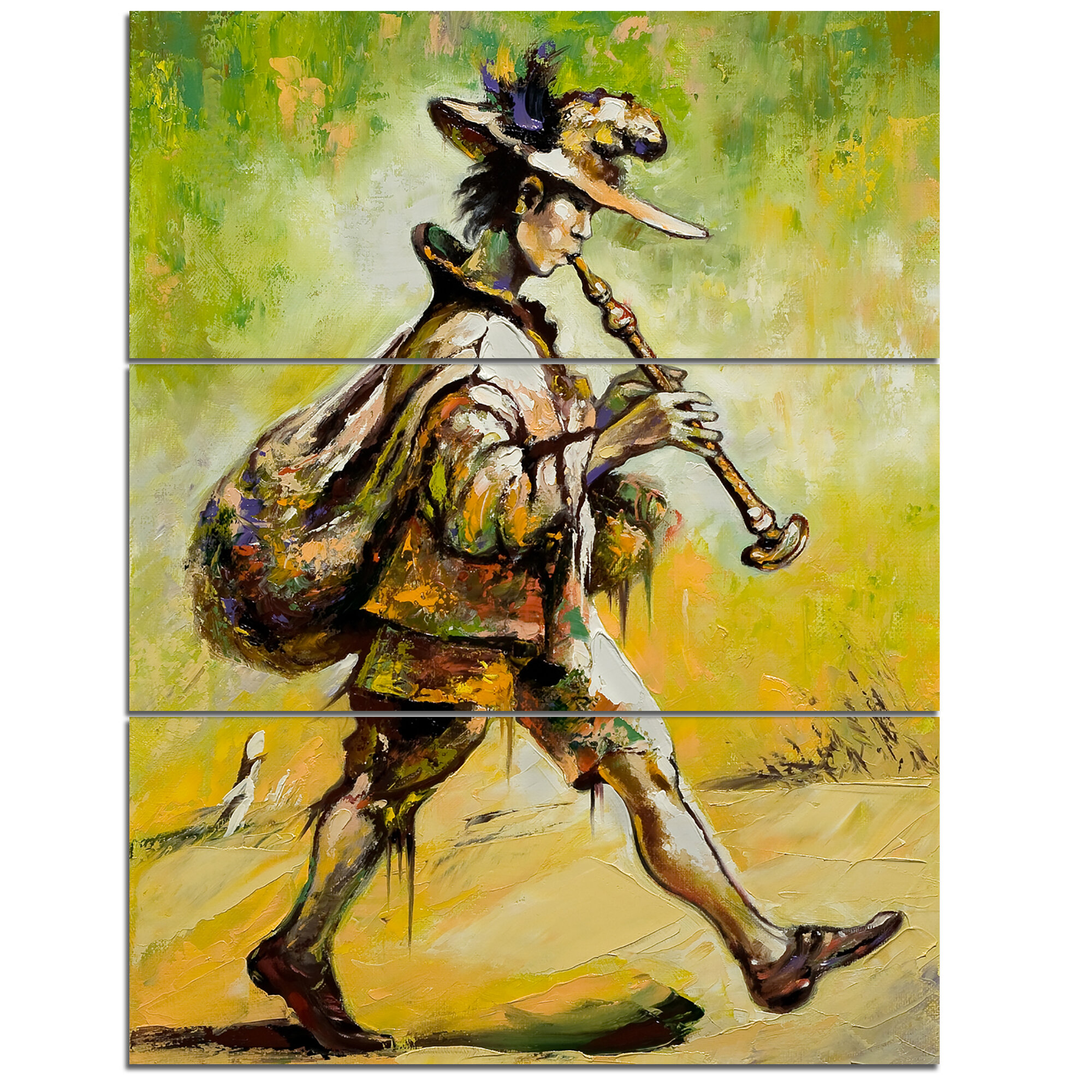 DesignArt Wandering Troubadour with Pipe - 3 Piece Wall Art on ...
