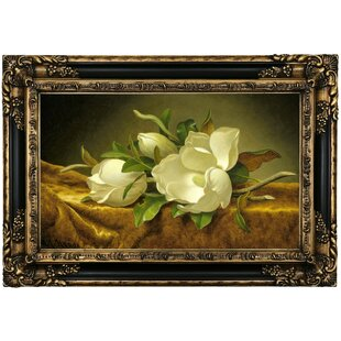 U0027Magnolias On Gold Velvet Clothu0027 Framed Print On Canvas