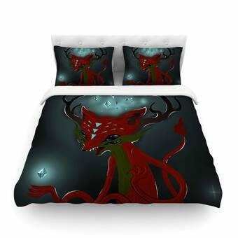 Kess InHouse Anya Volk Magic Fox Teal Fantasy Decorative Door 2 x 3 Floor Mat