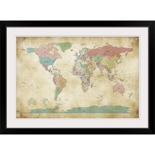 Framed map wall art youll love political map of the world map by michael tompsett graphic art print gumiabroncs Gallery