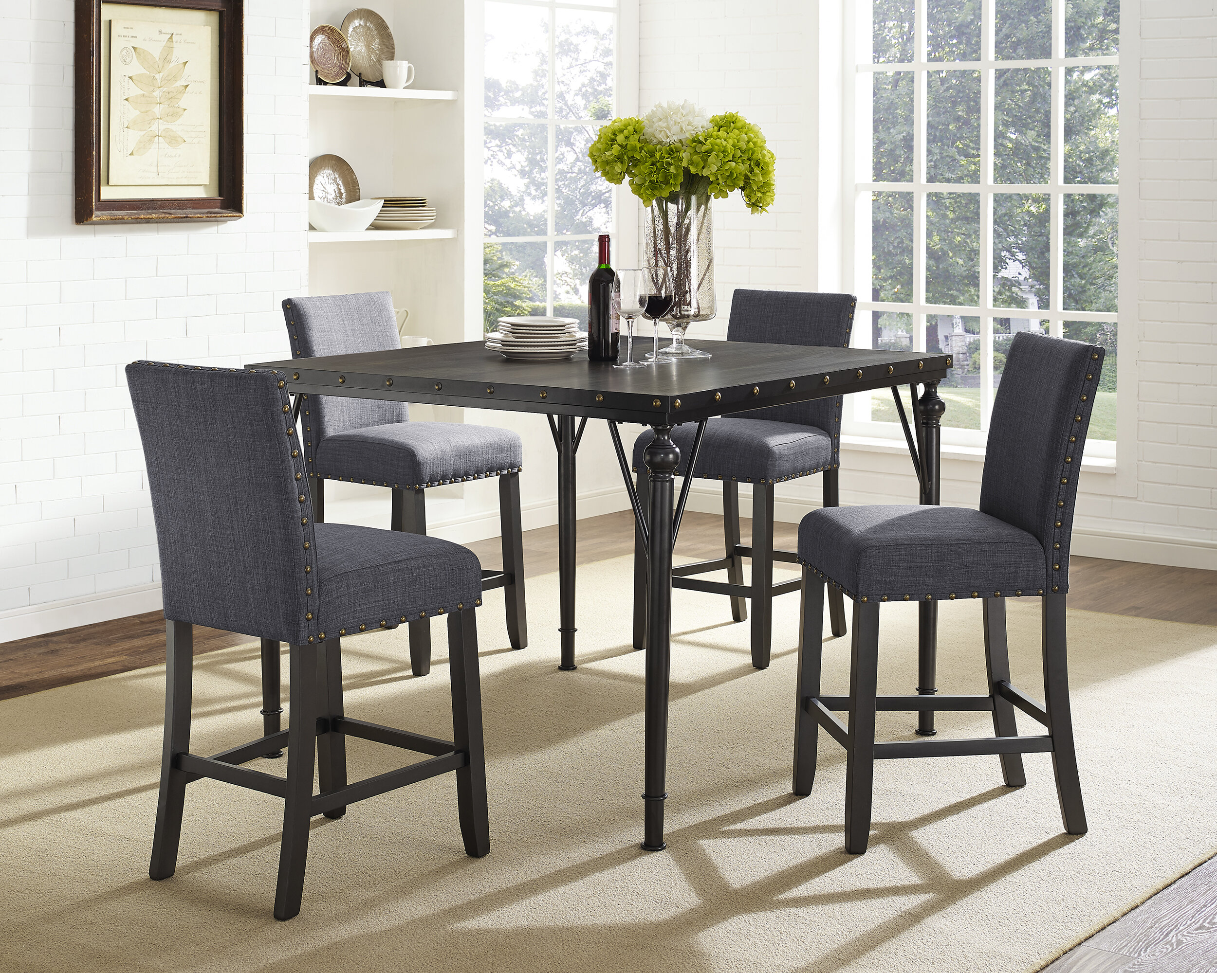 Haysi Wood Counter Height 5 Piece Dining Set With Fabric Nailhead Chairs Reviews