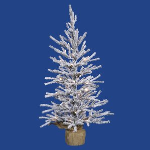 1.5u0027 Flocked Angel Pine Artificial Christmas Twig Tree With Clear Lights
