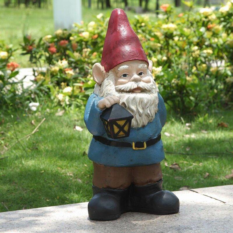 Gnome Holding Lantern Statue