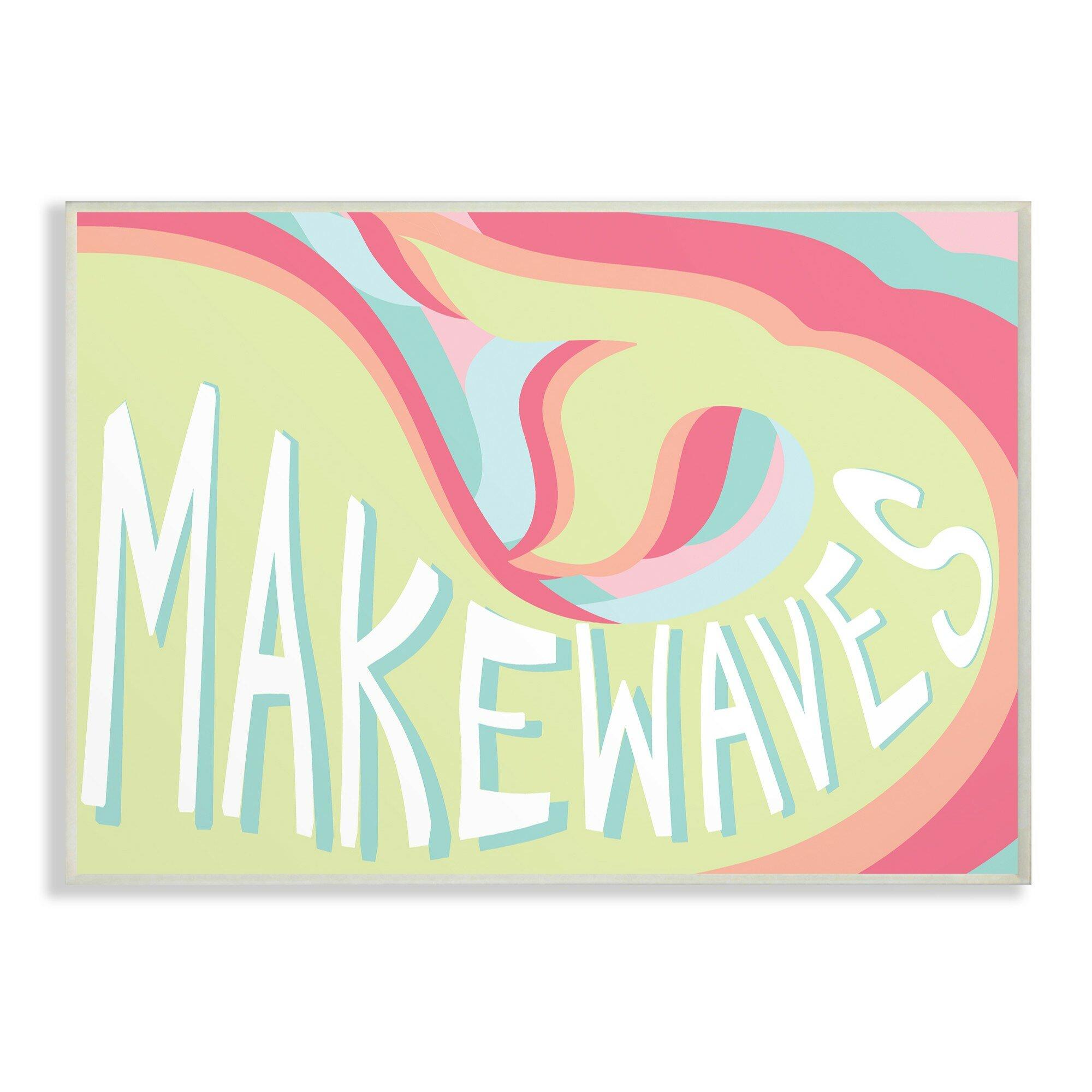 Harriet Bee Alberta Make Waves Groovy Mermaid Typography Canvas Art ...