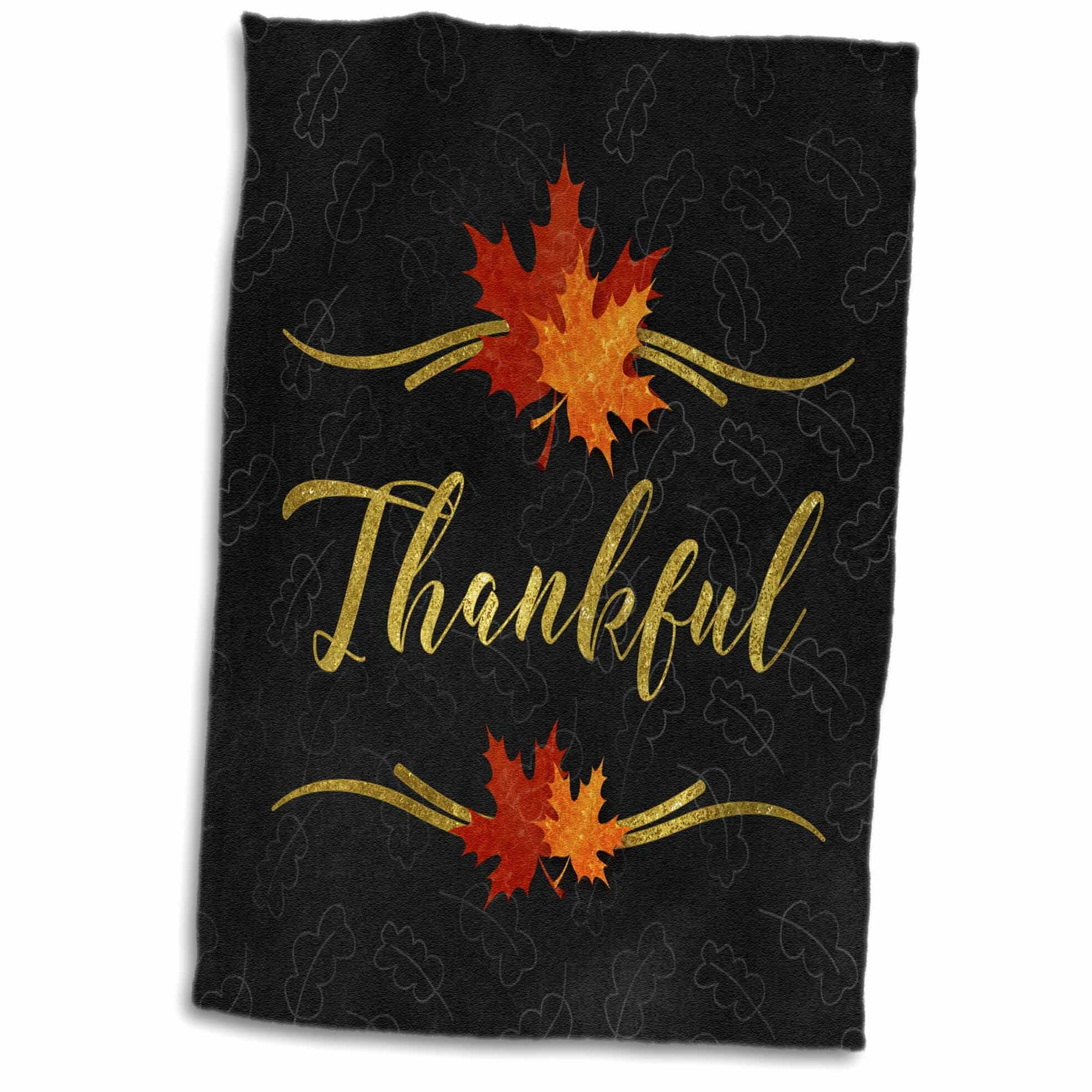 06b96984c77ba Pandora Thankful Typography Leaf and Chalkboard Fall Theme Hand Towel