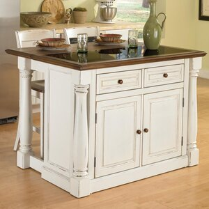 Giulia Traditional Kitchen Island Set with Granite Top