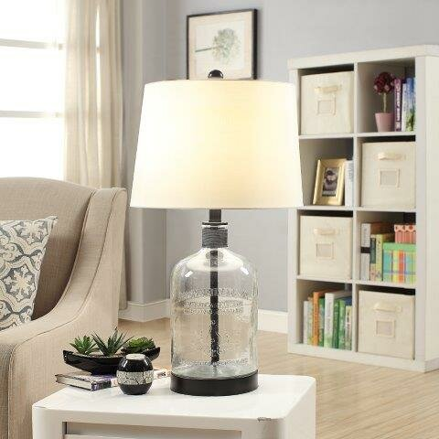 Woodburn metal and glass 26 5 table lamp