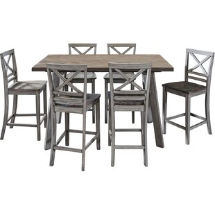 Crum 7 Piece Counter Height Wood Dining Set
